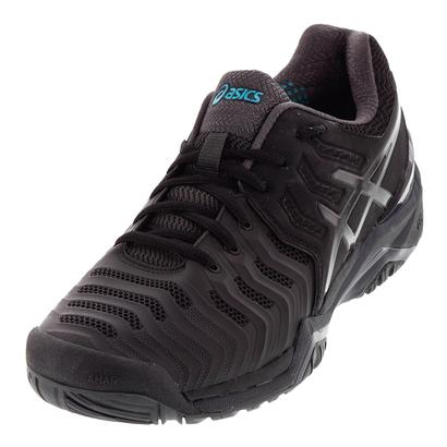 Men`s Gel-Resolution 7 Tennis Shoes Black and Dark Gray