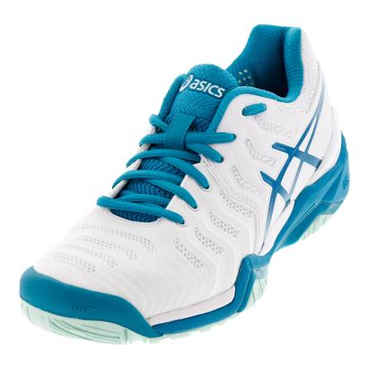 Women`s Gel-Resolution 7 Tennis Shoes White and Arctic Aqua