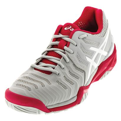 Women`s Gel-Resolution 7 Tennis Shoes Glacier Gray and Rouge Red