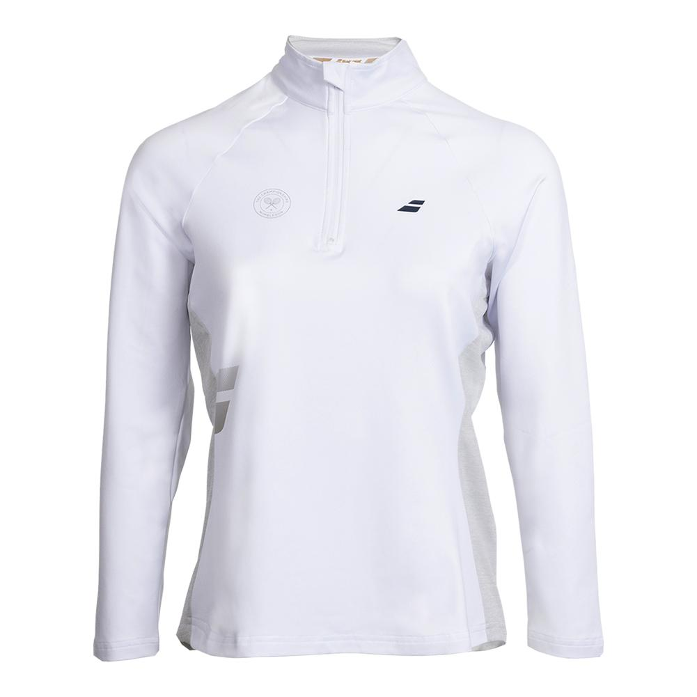 Women's Wimbledon Core 1/2 Zip Tennis Top White And Gray