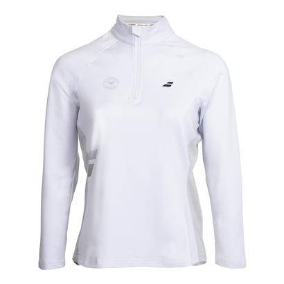 Women`s Wimbledon Core 1/2 Zip Tennis Top White and Gray