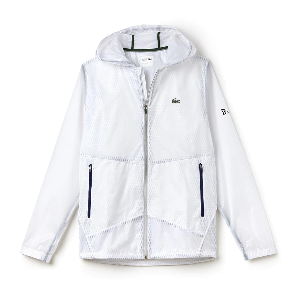 Men's Novak Transparent Taffetas Tennis Hoodie Jacket White