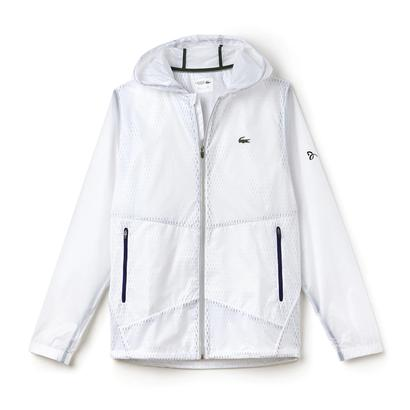 Men`s Novak Transparent Taffetas Tennis Hoodie Jacket White