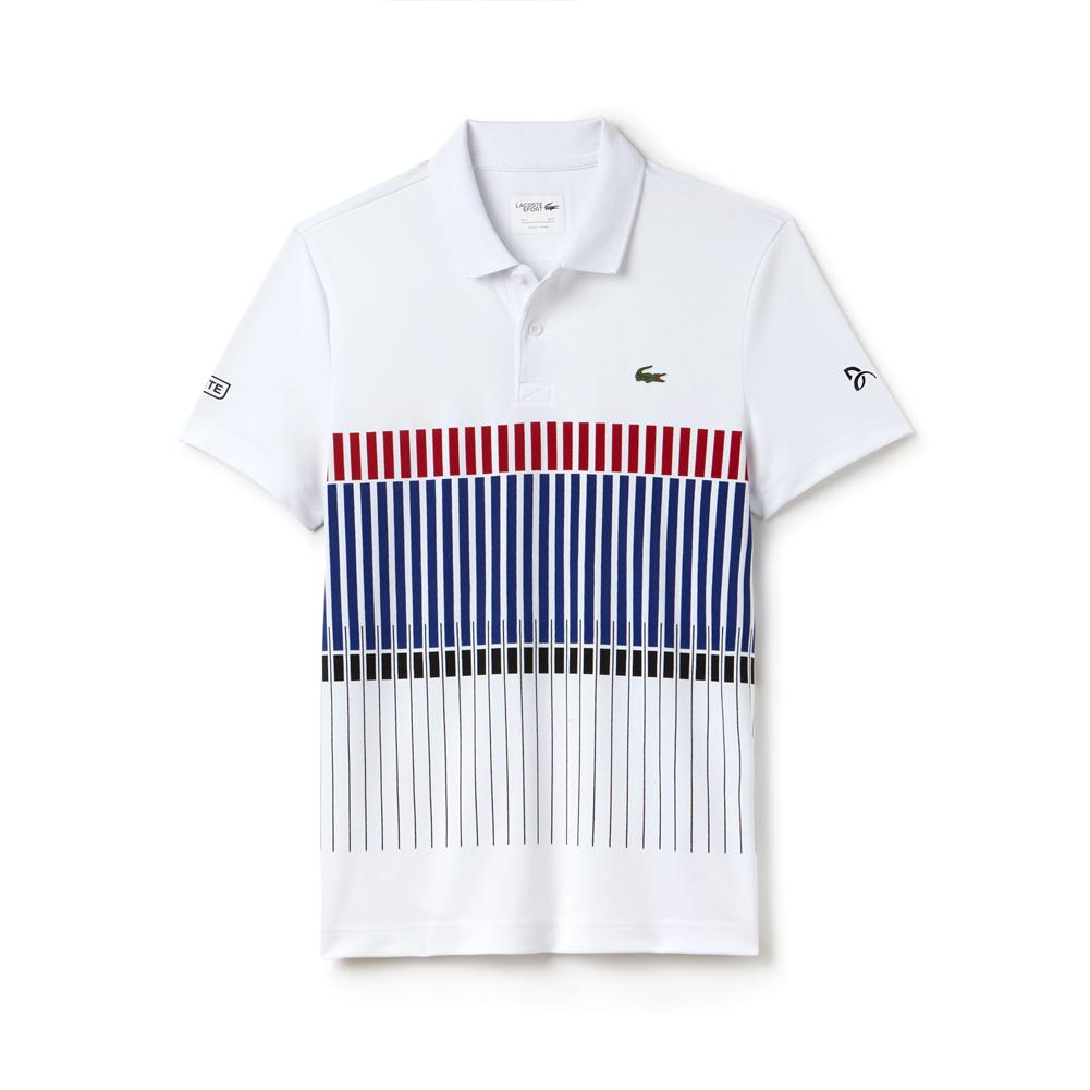 Men's Novak Ultra Dry Stripe Tennis Polo White And Ocean