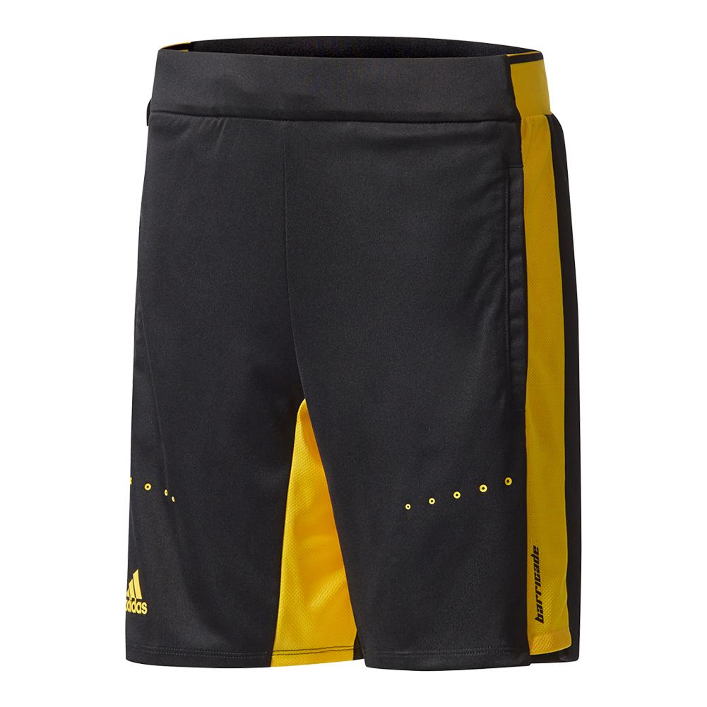 Boys ` Barricade Tennis Short Black And Eqt Yellow