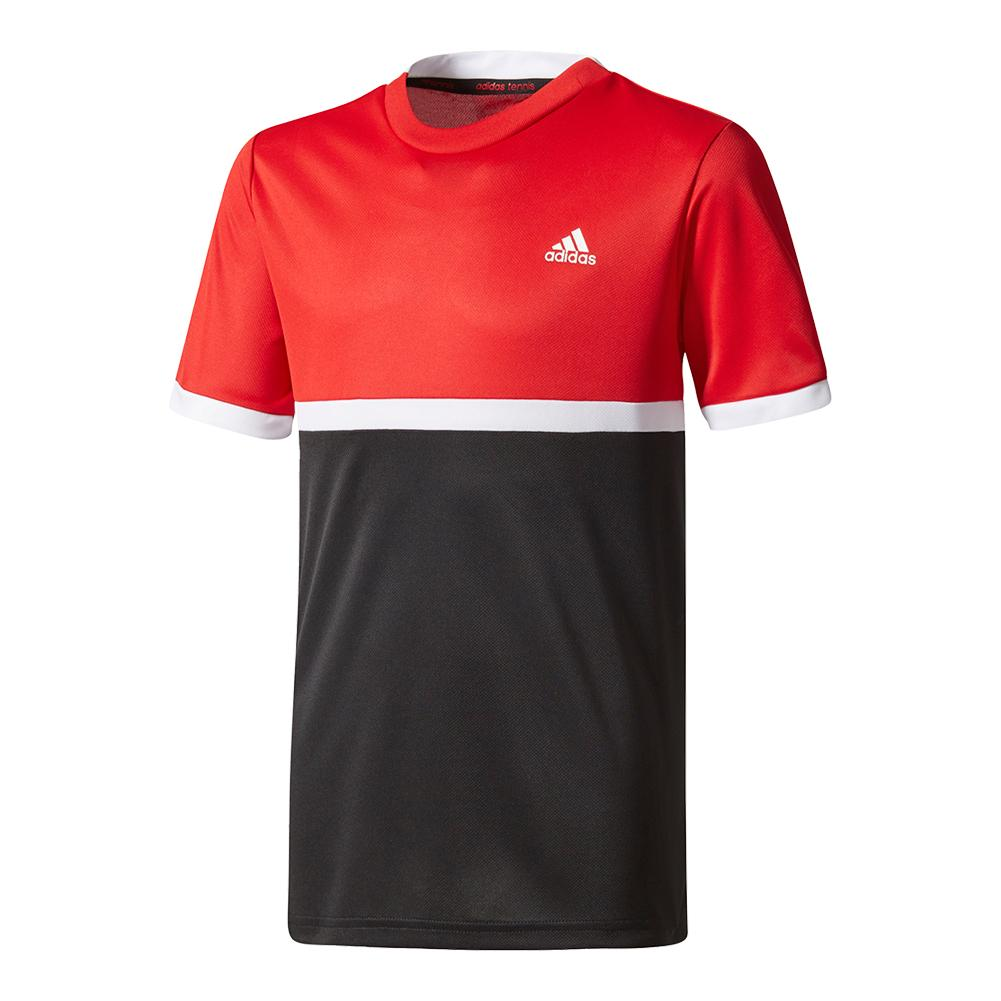 Boys ` Court Tennis Tee Scarlet And Black