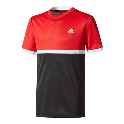 Boys` Court Tennis Tee Scarlet and Black