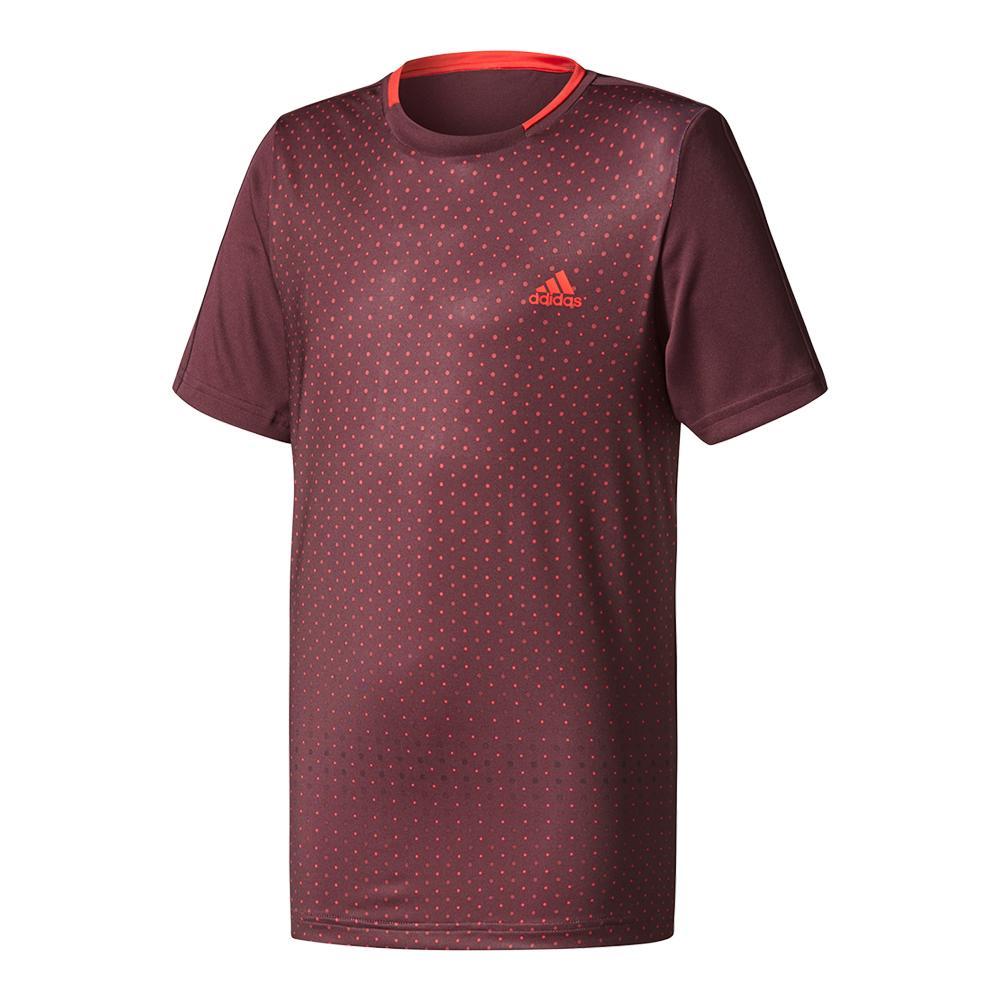 Boys ` Advantage Trend Tennis Tee Dark Burgundy And Scarlet