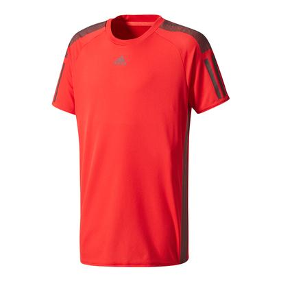 Boys` Barricade Tennis Tee Scarlet and Dark Burgundy