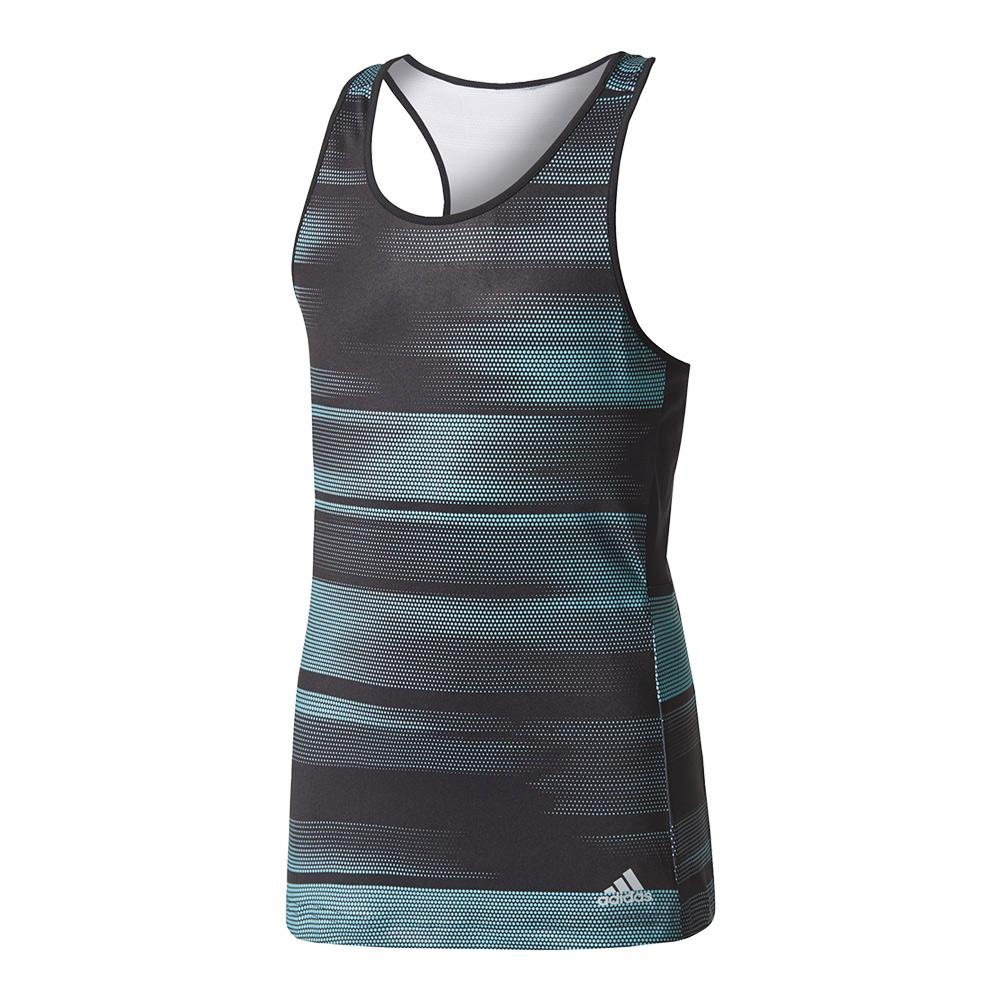 Girls ` Advantage Trend Tennis Tank Black And Energy Aqua