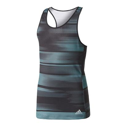 Girls` Advantage Trend Tennis Tank Black and Energy Aqua