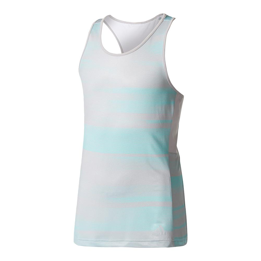 Girls ` Advantage Trend Tennis Tank Gray And Energy Aqua