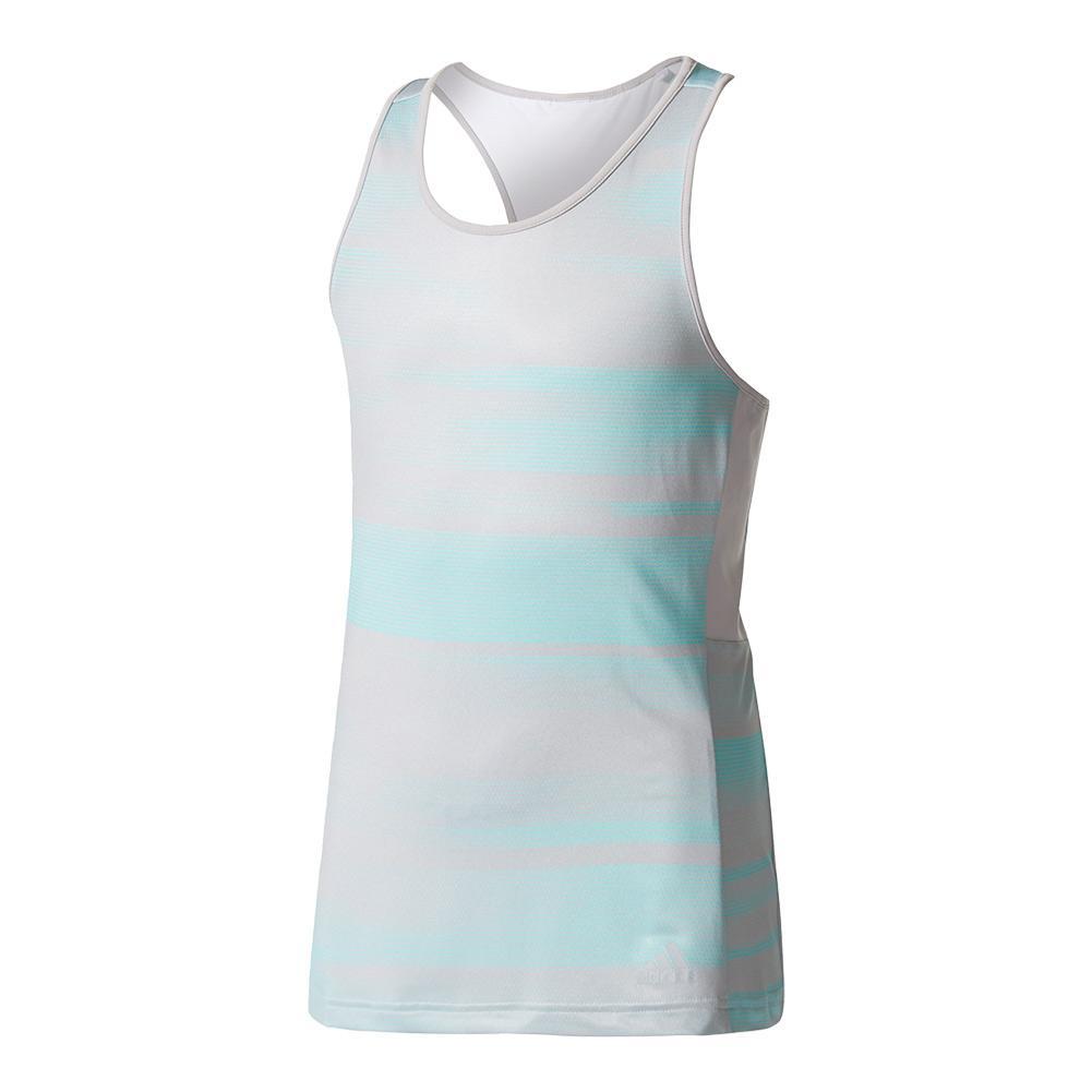 Girls ` Advantage Trend Tennis Tank Gray And Energy Aqua