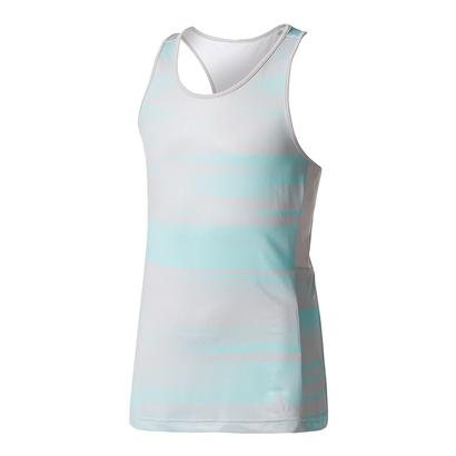 Girls` Advantage Trend Tennis Tank Gray and Energy Aqua