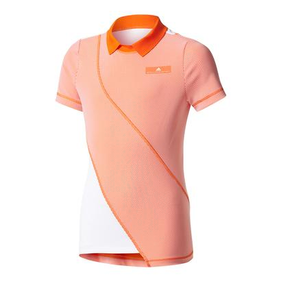 Girls` Stella McCartney Barricade Tennis Tee Radiant Orange and White