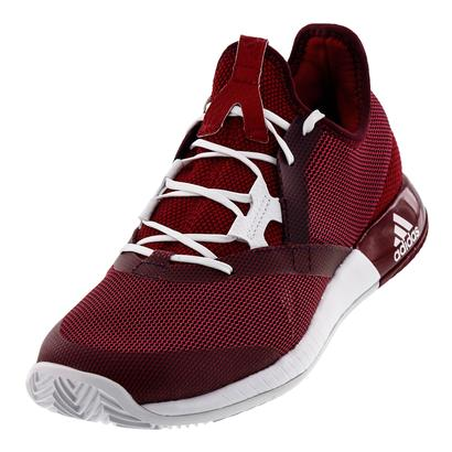 Women`s Adizero Defiant Bounce Tennis Shoes Mystery Ruby and White