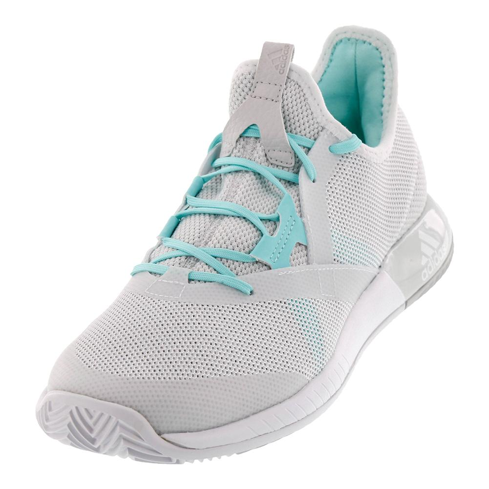 Women's Adizero Defiant Bounce Tennis Shoes White And Gray One