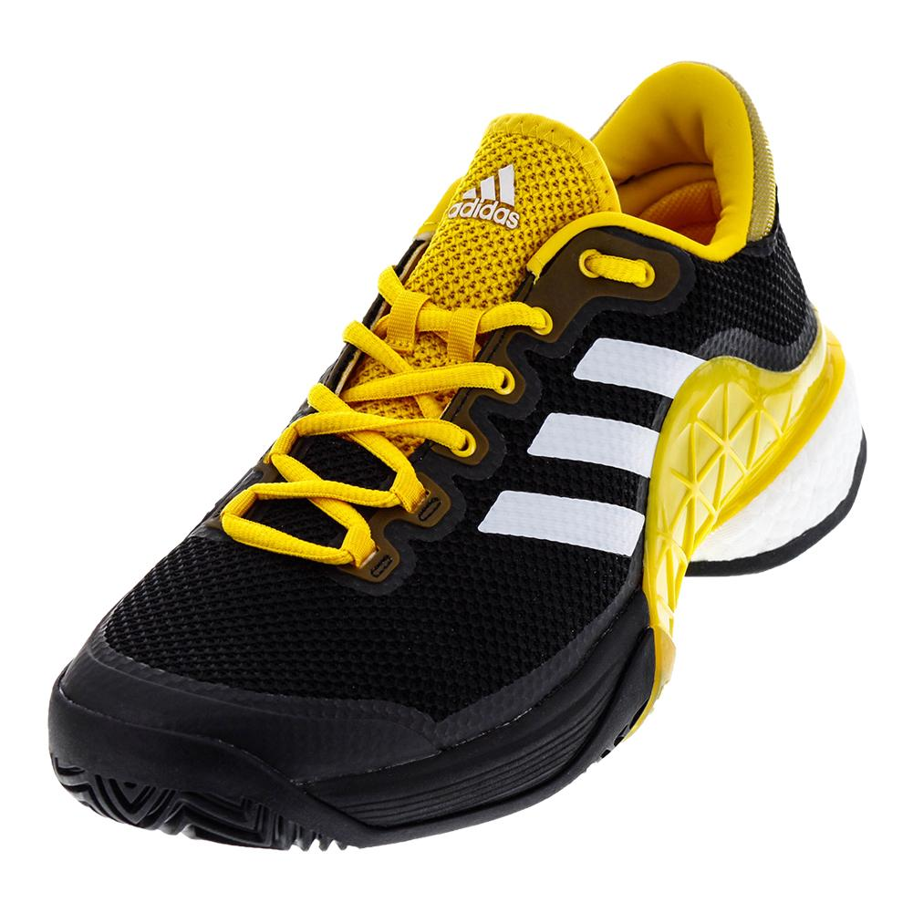 Men's Barricade 2017 Boost Tennis Shoes Core Black And Eqt Yellow