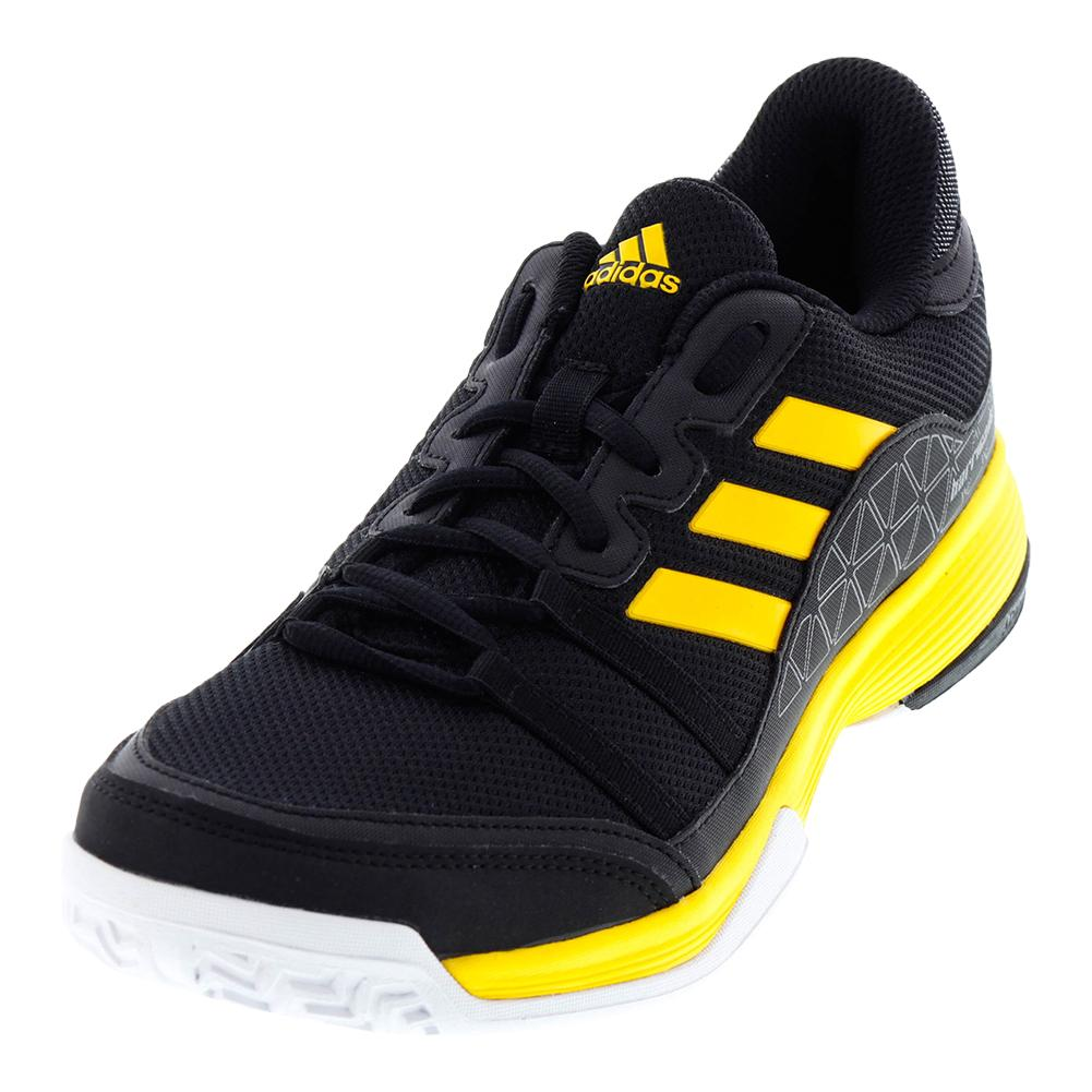 Men's Barricade Court Tennis Shoes Core Black And Eqt Yellow