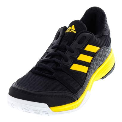 Men`s Barricade Court Tennis Shoes Core Black and Eqt Yellow