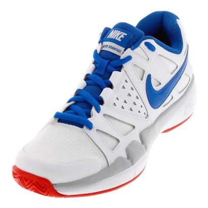Men`s Air Vapor Advantage Tennis Shoes White and Blue Jay