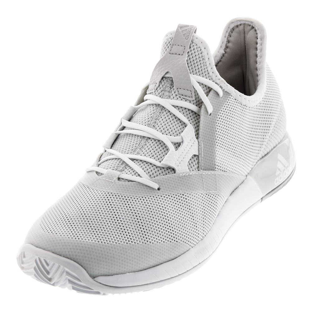 Men's Adizero Defiant Bounce Tennis Shoes White And Gray