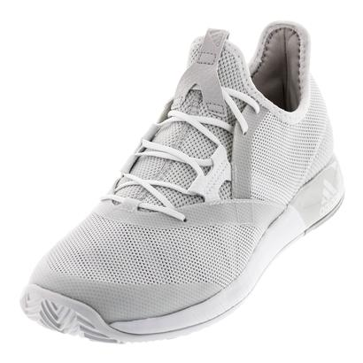 Men`s Adizero Defiant Bounce Tennis Shoes White and Gray