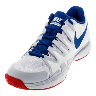 Men`s Zoom Vapor 9.5 Tour Tennis Shoes White and Blue Jay