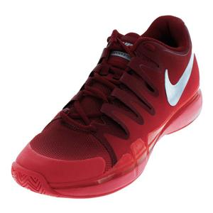 Men`s Zoom Vapor 9.5 Tour Tennis Shoes Team Red and Metallic Silver