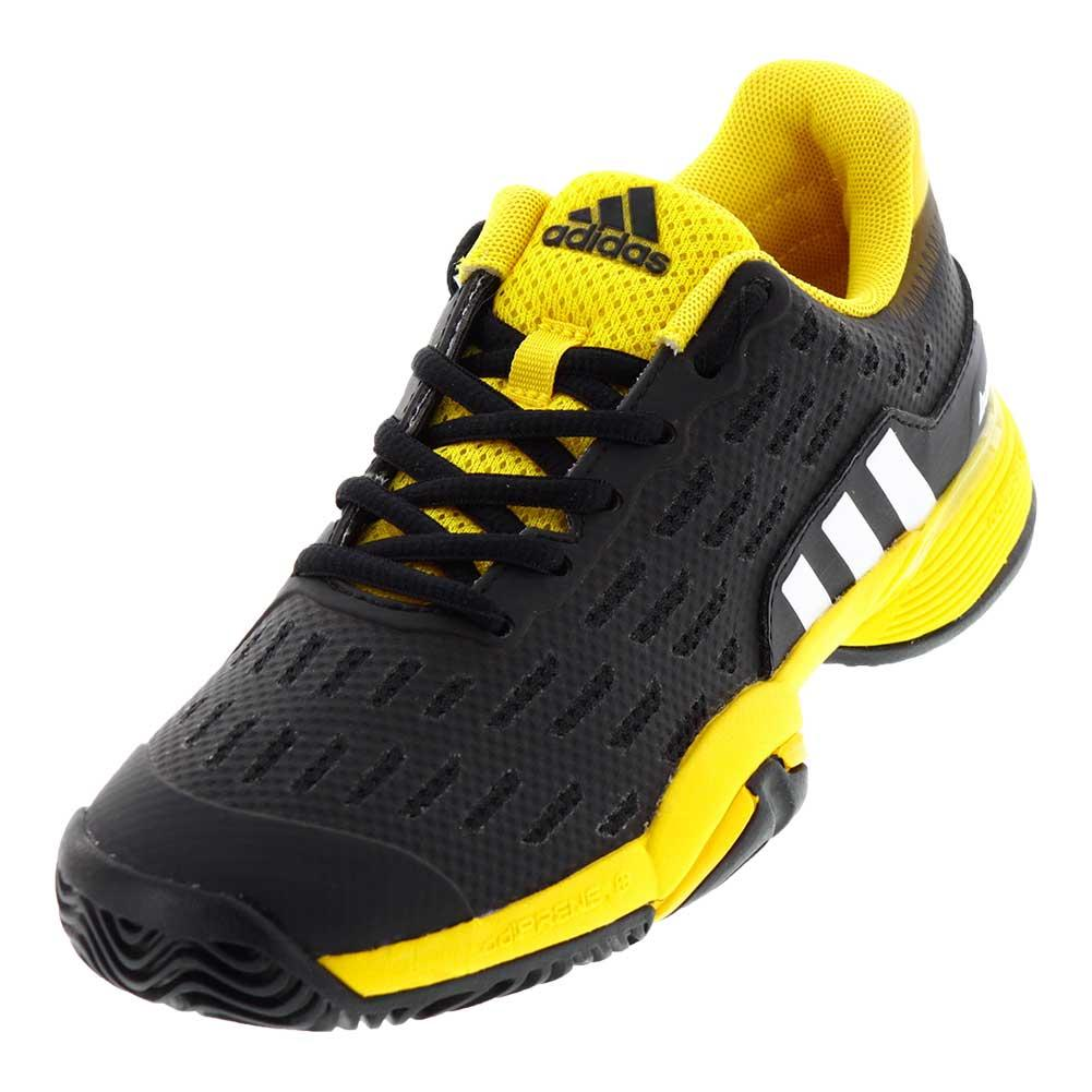 adidas juniors barricade tennis shoes in black and yellow