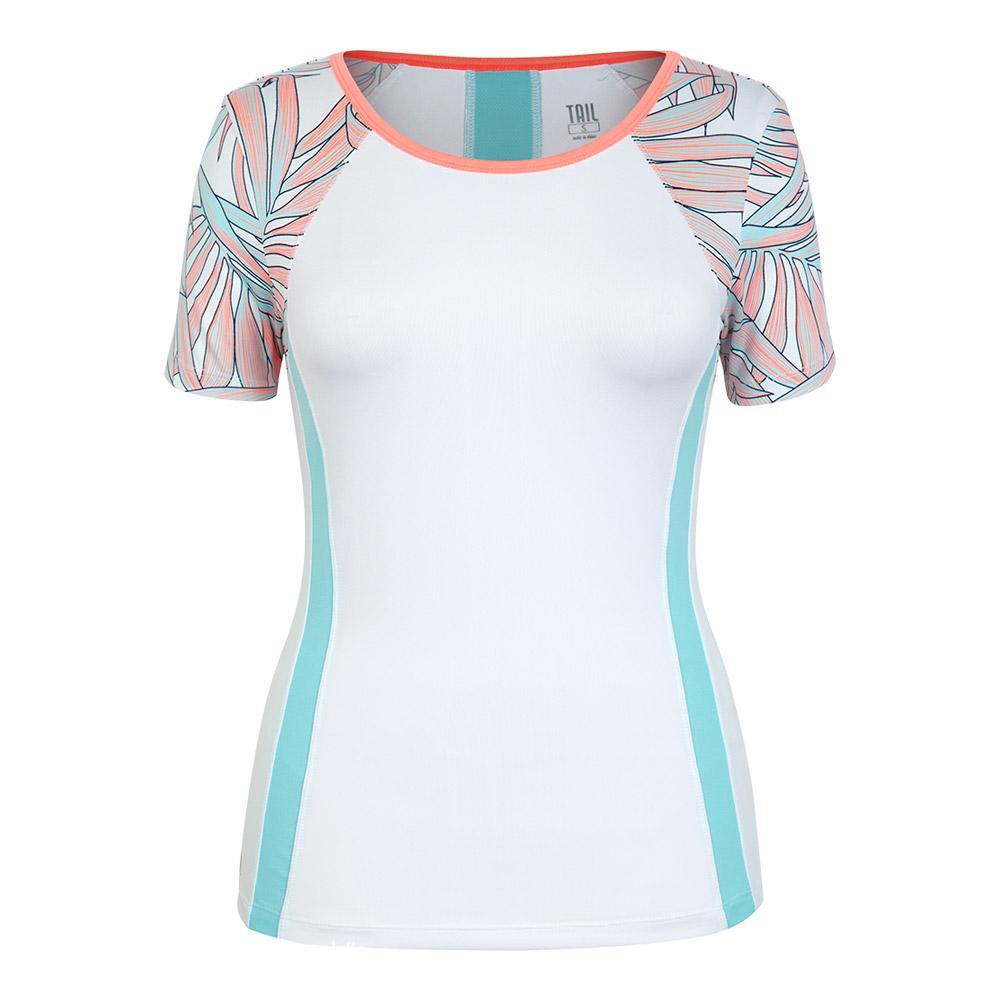 Women's Gina Short Sleeve Tennis Top White And Palms Tahiti