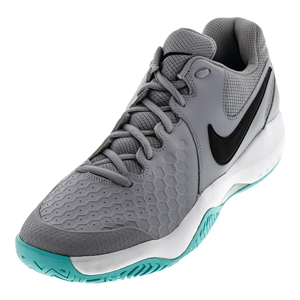 Men's Air Zoom Resistance Tennis Shoes Wolf Gray And Aurora Green