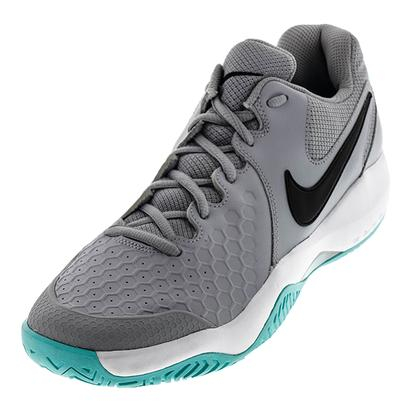 Men`s Air Zoom Resistance Tennis Shoes Wolf Gray and Aurora Green