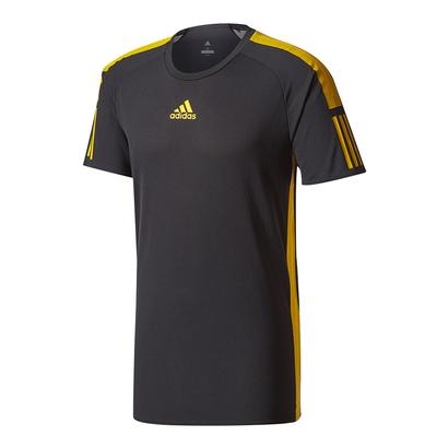 Men`s Barricade Tennis Tee Black and Eqt Yellow