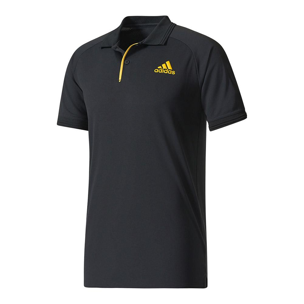 Men's Barricade Tennis Polo Black And Eqt Yellow
