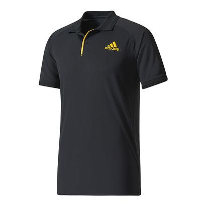 Men`s Barricade Tennis Polo Black and Eqt Yellow