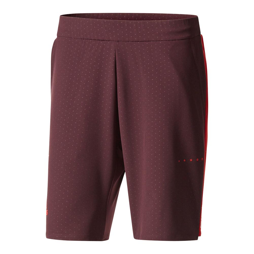 Men's Barricade Bermuda Tennis Short Dark Burgundy And Scarlet