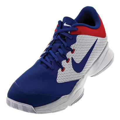 Men`s Air Zoom Ultra Tennis Shoes White and Blue Jay