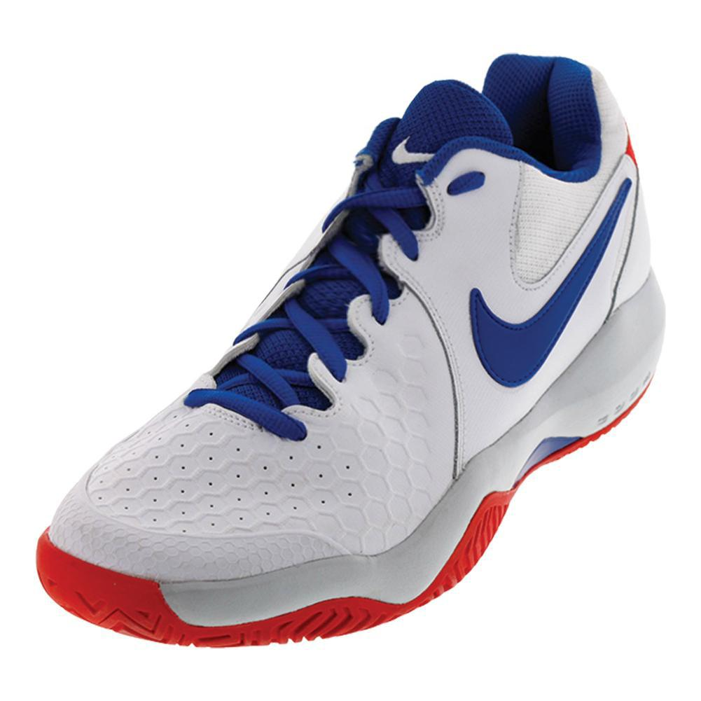 Men's Air Zoom Resistance Tennis Shoes White And Blue Jay