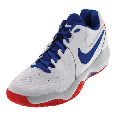 Men`s Air Zoom Resistance Tennis Shoes White and Blue Jay