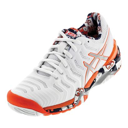 Women`s Gel-Resolution 7 Limited Ed London Tennis Shoes White and Flash Coral