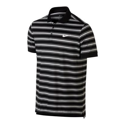 Men`s Court Dry Stripe Tennis Polo Black and White