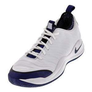 Men`s Air Zoom Oscillate Tennis Shoes White and Midnight Navy