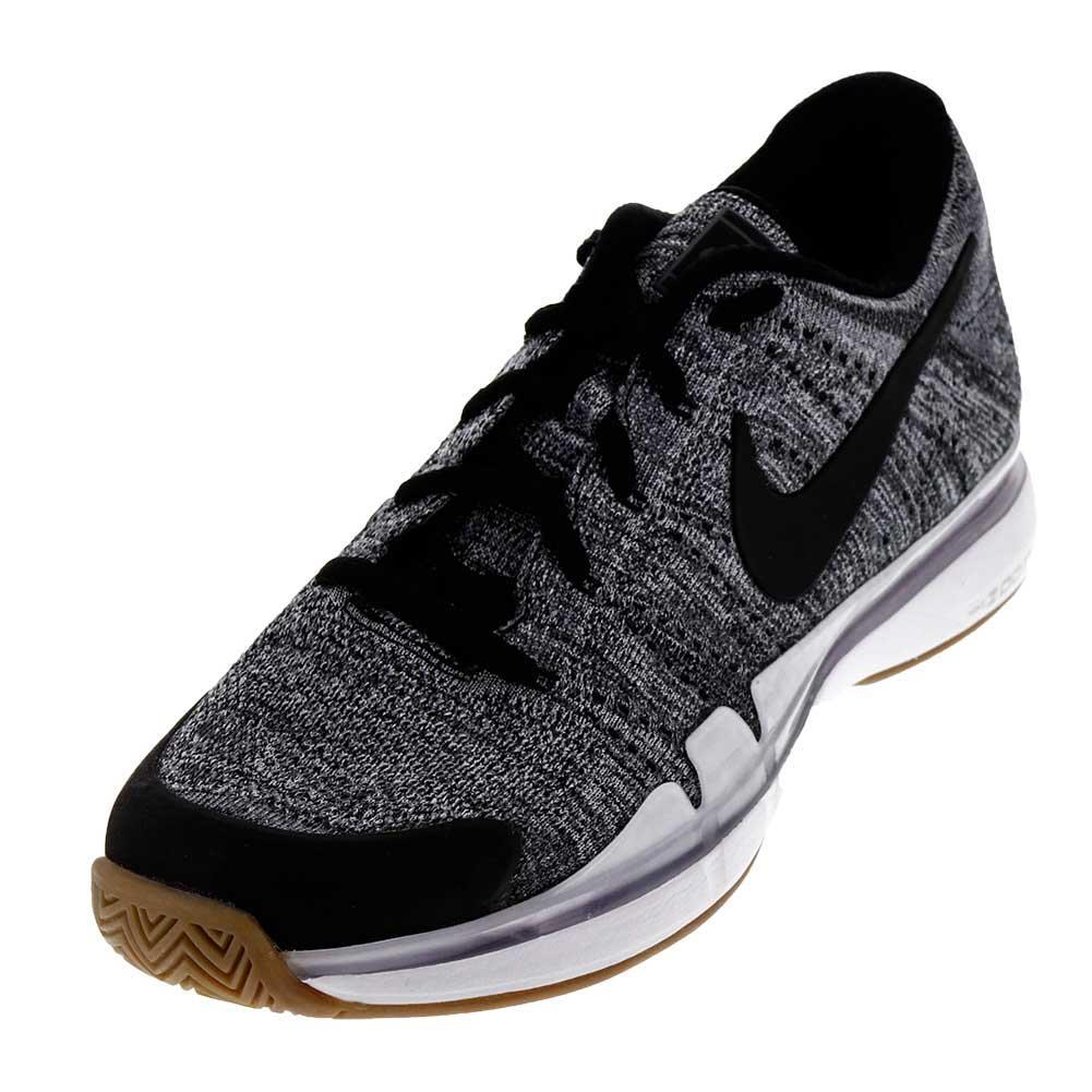 Men's Zoom Vapor Flyknit Tennis Shoes Dark Gray And Black