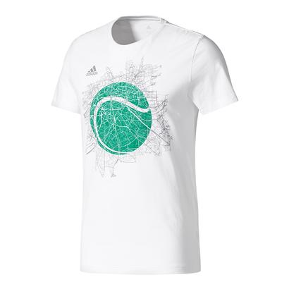 Men`s Wimbledon Graphic Tennis Tee White