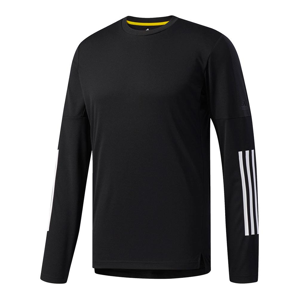 Men's Advantage 3s Long Sleeve Tennis Tee Black And White