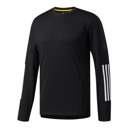 Men`s Advantage 3S Long Sleeve Tennis Tee Black and White