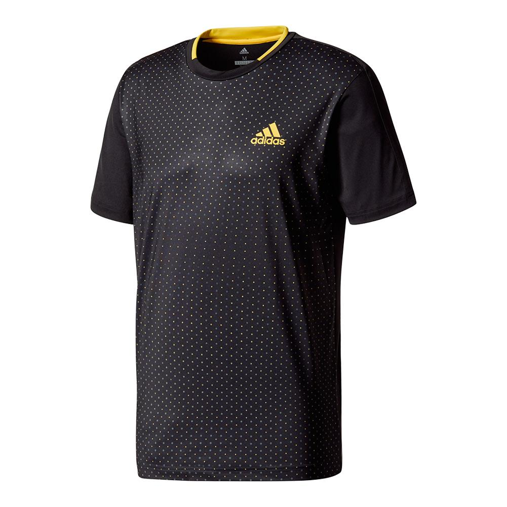 Men's Advantage Trend Tennis Tee Black And Eqt Yellow