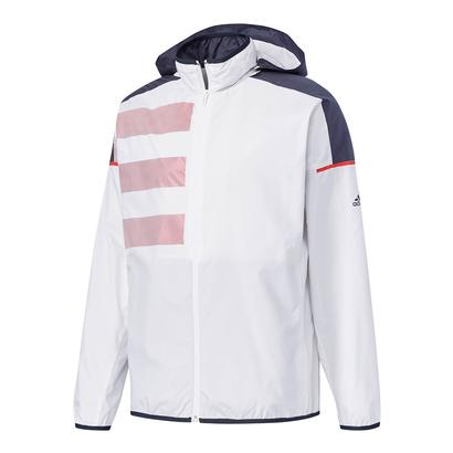Men`s Club Mesh Tennis Jacket White and Scarlet