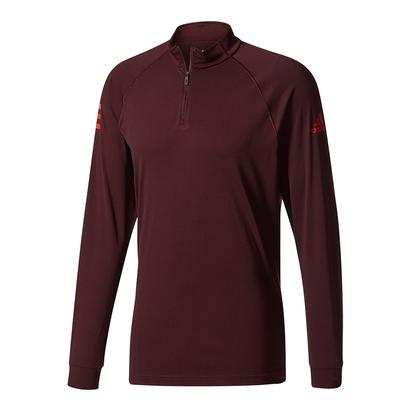 Men`s Club Half-Zip Midlayer Tns Top Dark Burgundy and Scarlet